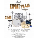 "Pearl Export Plus 22"" Fusion Plus 5pce Drum Kit Package in Pure White"