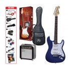 SX SE1SK 4/4 Full Size Electric Guitar Kit in Blue
