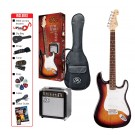 SX SE1SK 3/4 Electric Guitar Kit in 3 Tone Sunburst