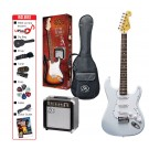 SX SE1SK 4/4 Full Size Electric Guitar Kit in White