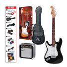 SX Left Handed 4/4 Size Electric Guitar Kit in Black