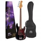 SX SPB62 Vintage 62 Style Bass Guitar in Black