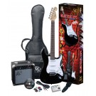 SX 4/4 Size Electric Guitar Kit in Black