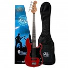 SX 3/4 Size Bass Guitar with Bag in Fiesta Red