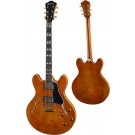 """Eastman - T59/V-AMB 16"""" Double cutaway w/full block Thinline Guitar - Deluxe Maple Laminate - Amber"""