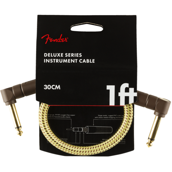 Fender - Deluxe Series Instrument Cable - Angle/Angle - 1' - Tweed