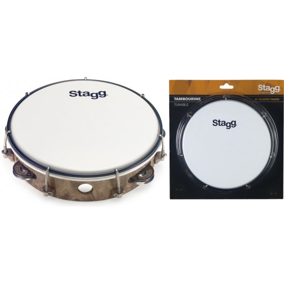 """Stagg - 8"""" Tuneable Plastic Tambourine W/ 1 Row Of Jingles"""