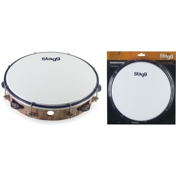 """Stagg - 10"""" Tuneable Plastic Tambourine W/ 1 Row Of Jingles"""