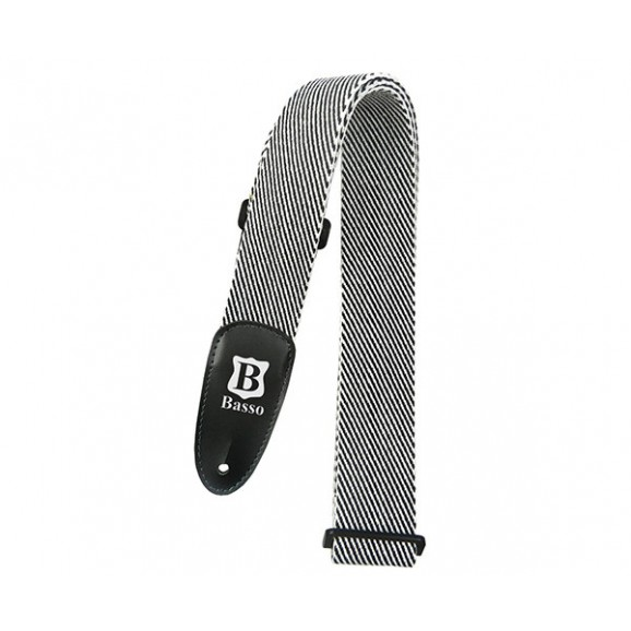 Basso Guitar Strap - Cotton Black and White Tweed EX03