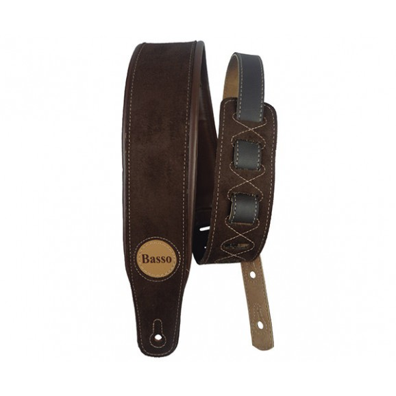 Basso Guitar Strap  -Synthetic Suede Brown
