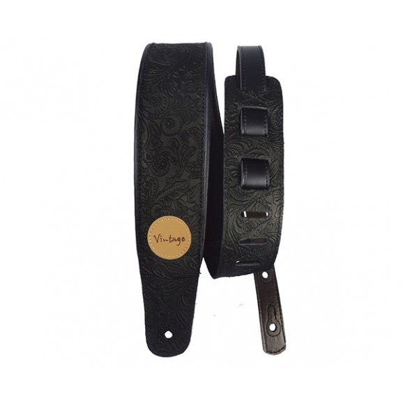 Basso Guitar Strap - Floral Emboss Black Leather