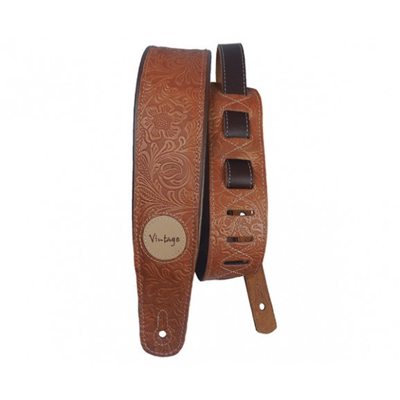 Basso Guitar Strap - Floral Leather Whiskey