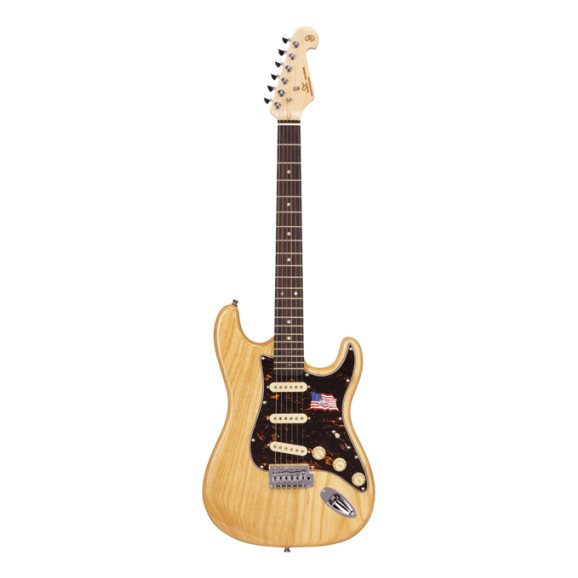SX Ash Series ASH2R Strat Style Electric Guitar in Natural Ash