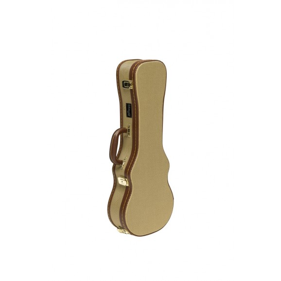 Stagg - Vintage-Style Series Gold Tweed Deluxe Hardshell Case For Concert Ukulele