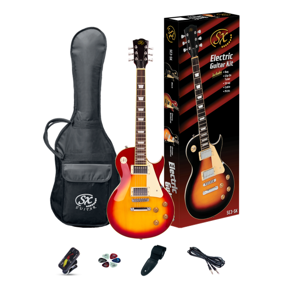 SX Les Paul Style Electric Guitar Kit in Cherry Sunburst
