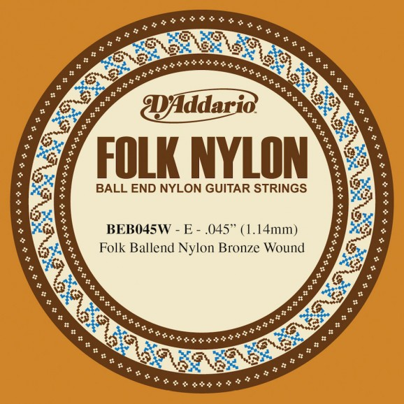 D'Addario BEB045W Folk Nylon Guitar Single String Bronze Wound Ball End .045