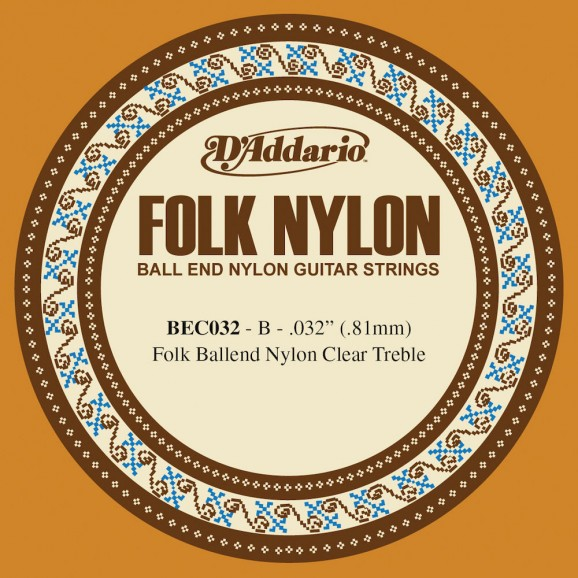 D'Addario BEC032 Folk Nylon Guitar Single String Clear Nylon Ball End .032