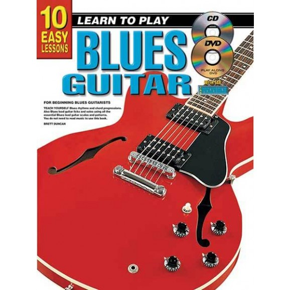 10 Easy Lessons Learn To Play Blues Guitar Book/CD/DVD