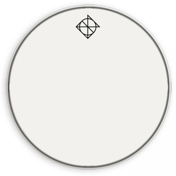 "Dixon 18"" Bass Drum Head in White with Dixon Logo & Muffler"