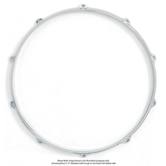 """Dixon 12""""/6 Lug Die Cast Snare/Tom Batter Side Chrome Plated Hoop - Pk 1"""
