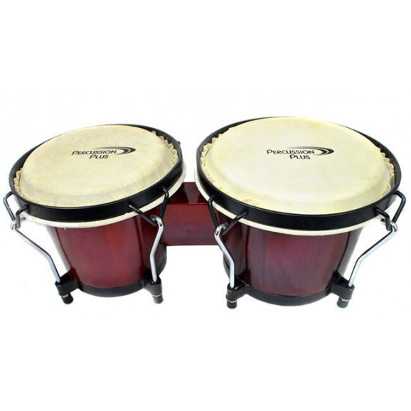 "Percussion Plus 6 & 6-3/4"" Wooden Bongos in Gloss Red Lacquer Finish"