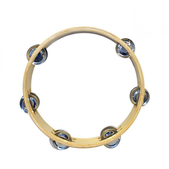"""Percussion Plus 8"""" Wooden Tambourine with 6-Double Rows of Jingles"""