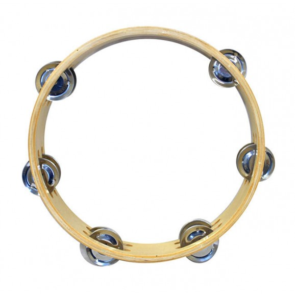"""Percussion Plus 9"""" Wooden Tambourine with 6-Double Rows of Jingles"""