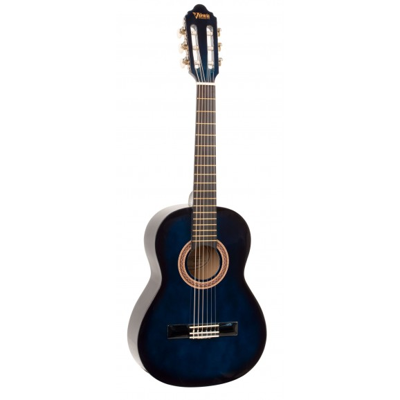 Valencia VC102BUS - 1/2 Size Classical Guitar - Gloss Blue Sunburst