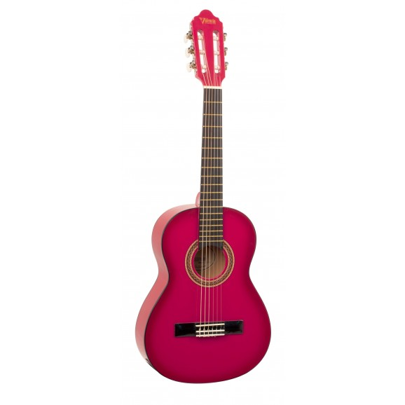 Valencia VC102PKS - 1/2 Size Classical Guitar - Gloss Pink Sunburst