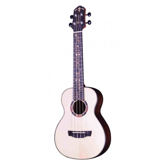 Crafter Ukulele Solid Spruce Top / Striped Ebony B&S with Cutaway and Pick Up in Natural Satin Finish