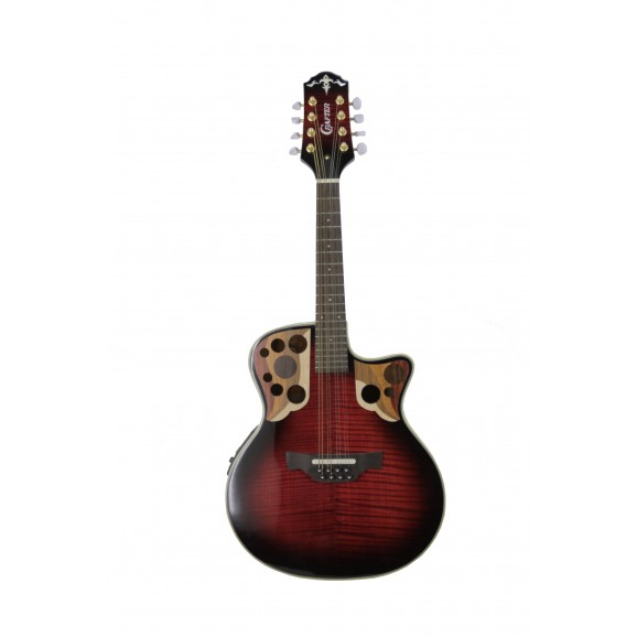 Crafter M88E Mandolin with Pickup in Red Tiger Maple
