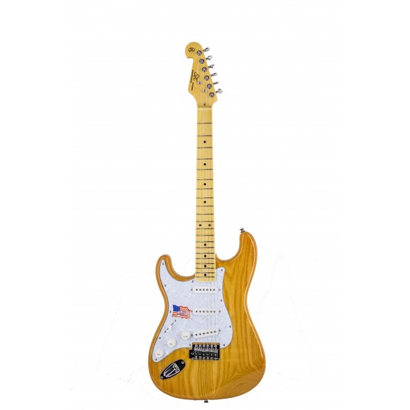SX Ash Series ASH2M Left Handed Strat Style Electric Guitar in Natural Ash