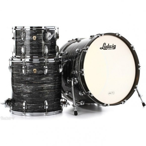 """Ludwig Ringo Starr Beatles Classic Maple Fab 22"""" 3-Piece Shell Pack in Vintage Black Oyster"""