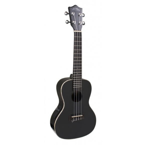Lanikai Concert Ukulele in Black with Pickup