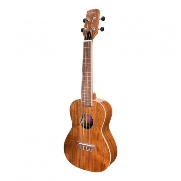 Martinez 'Southern Belle' 8-Series Solid Koa Top Acoustic-Electric Concert Ukulele With Hard Case in Natural Gloss