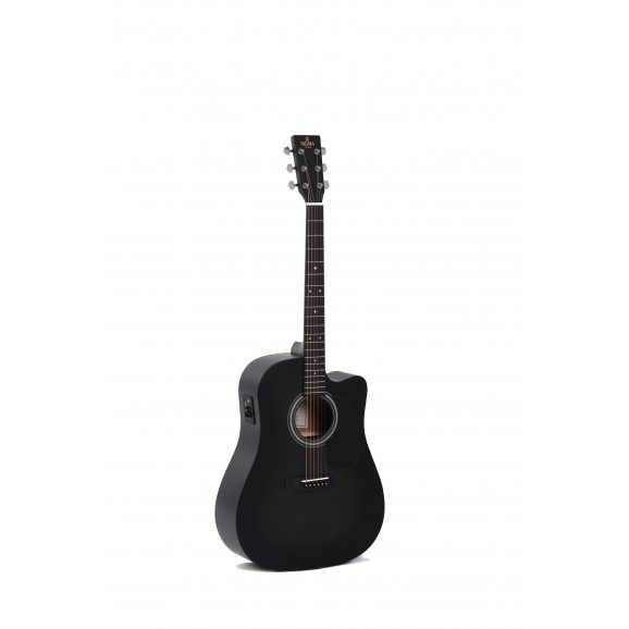 Sigma DMCE-BKB Dreadnought Acoustic / Electric Guitar in Black