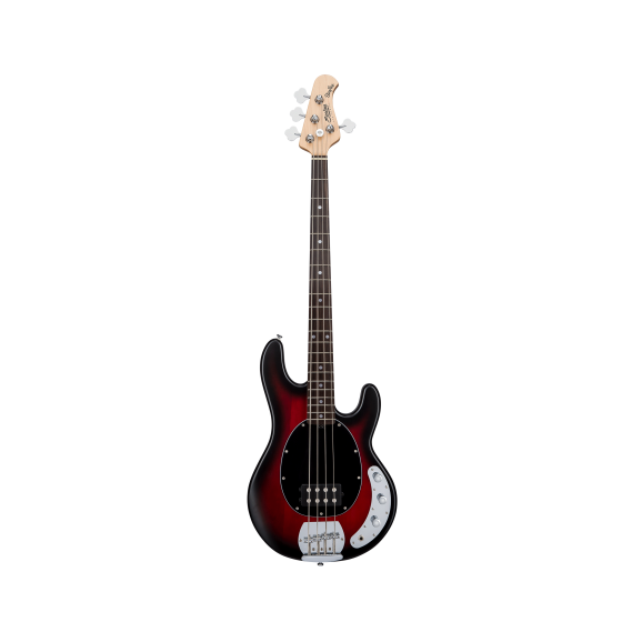 Sterling by Music Man Ray 4 Sub Bass Guitar 4 String in Ruby Red Burst Satin
