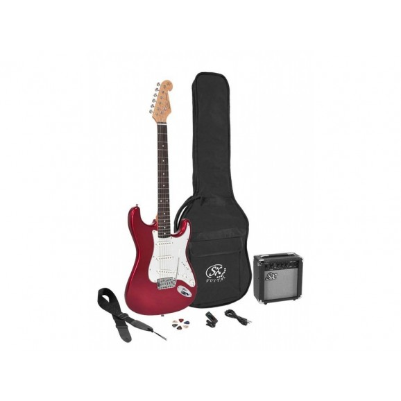 SX 4/4 Size Electric Guitar Kit in Candy Apple Red