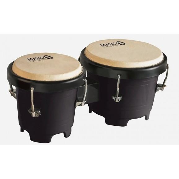 "Mano Percussion 4.5"" & 5"" Mini Plastic Bongos Black"