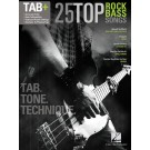 25 Top Rock Bass Songs -  Various   (Bass Guitar) Bass Recorded Versions - Hal Leonard. Softcover Book